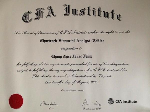 Isaac Fang CFA Charter holder