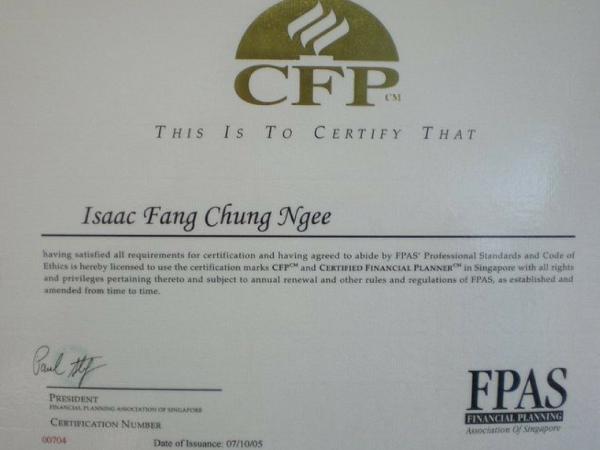 Isaac Fang CFP certification holder