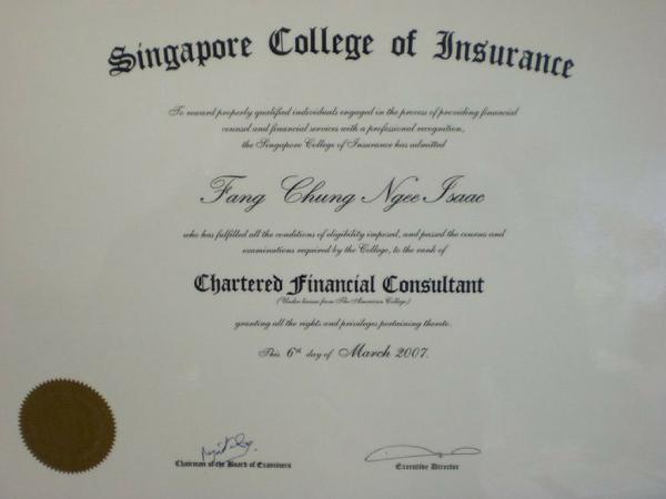 Isaac Fang ChFC certification holder