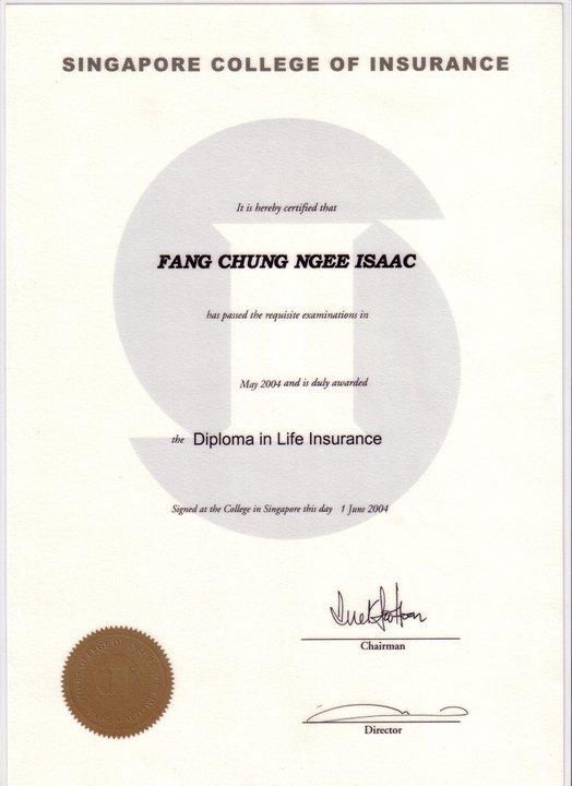 Isaac Fang CFA Diploma in Life Insurance