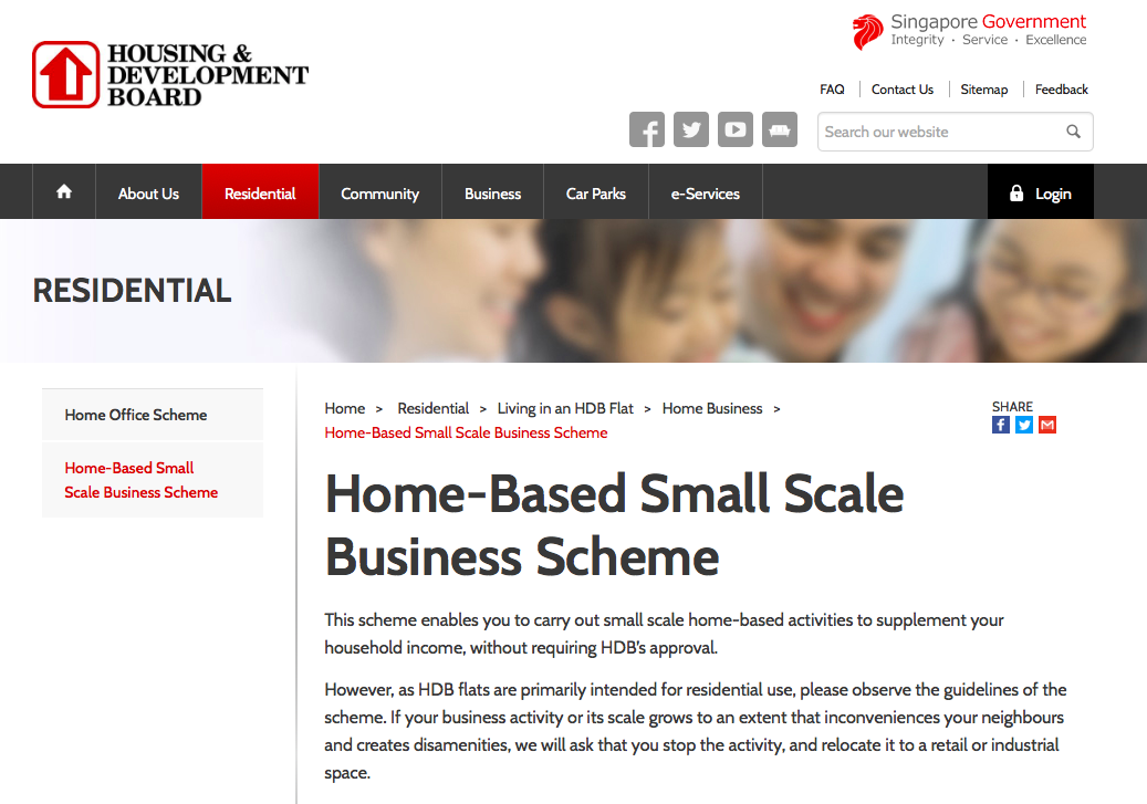 HDB home based small scale business scheme for side hustle