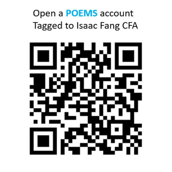 QR code to open POEMS account tagged to Isaac Fang CFA