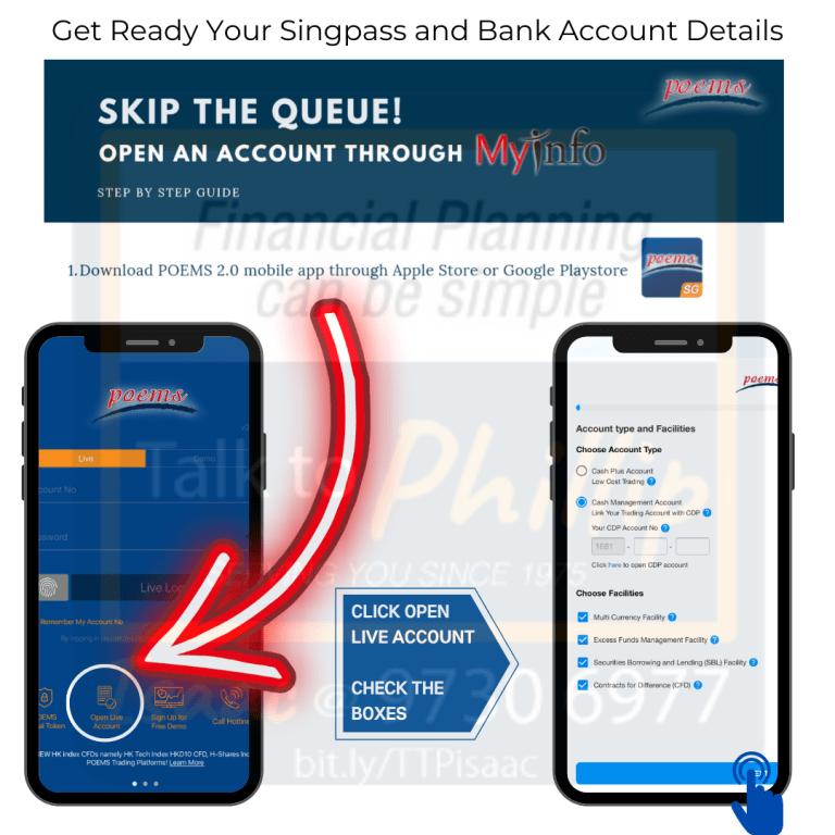 Guide to open an account using SINGPASS myinfo